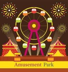 Ferris wheel amusement park carnival fun fair vector