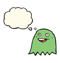 Cartoon ghost with thought bubble vector