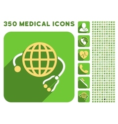 Global medicine icon and medical longshadow icon vector