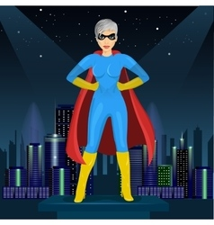 Woman dressed in superhero costume vector