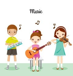 Children playing music by musical instruments vector