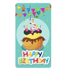 Happy birthday card baner background with cake vector
