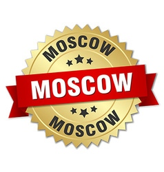 Moscow round golden badge with red ribbon vector