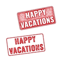 Grunge textured stamp with words happy vacation vector