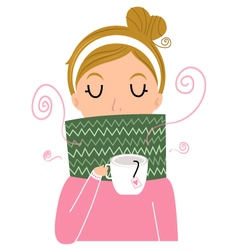 Beautiful Girl holding Tea vector image