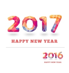 Happy new year 2017 and 2016 colorful greeting vector