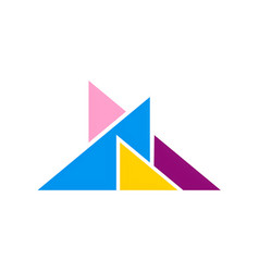 abstract triangle colorful logo vector image vector image