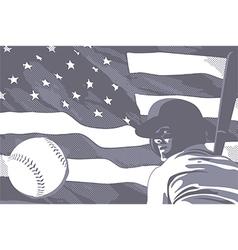 BASEBALL FLAG USA BW vector image