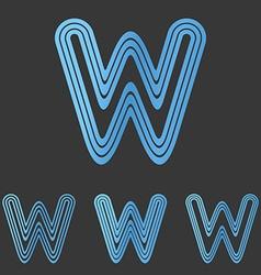 Blue line w logo design set vector image vector image