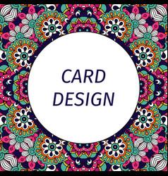 card design with floral violet ornament vector image