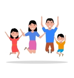 Cartoon jumping of happiness family vector