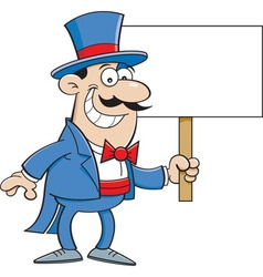 Cartoon magician holding a sign vector image vector image