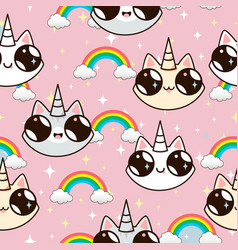 cats unicorns and a rainbow vector image vector image