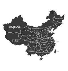 China map labelled black vector