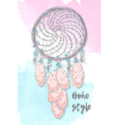 dreamcatcher boho style hand drawing vector image