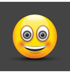 Emoji smiling grey eyes vector