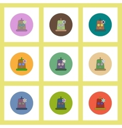 Flat icons halloween set of mask and flower vector