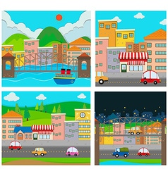 Four scenes of the city vector image vector image