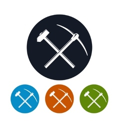 Icon of a crossed pickaxe and sledgehammer vector