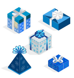 isometric set of colorful gift boxes with bows and vector image