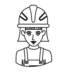 Monochrome contour half body of female worker with vector