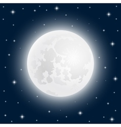 Moon close up at the sky with shining stars vector