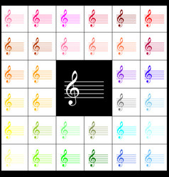 Music violin clef sign g-clef felt-pen vector