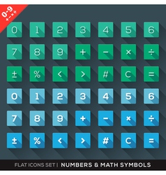 Numbers and math symbols flat icons set with long vector
