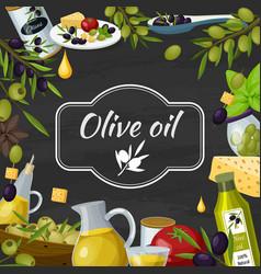 olive oil cartoon blackboard composition vector image vector image