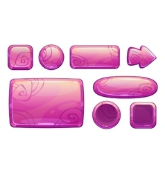 Pink glossy game assets set vector