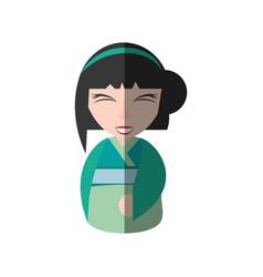 Pretty geisha green kimono shadow vector