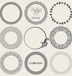 round vintage frame collection vector image vector image
