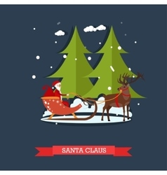 Santa claus riding sleigh vector