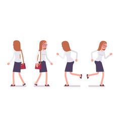 set of female clerk in walking and running poses vector image