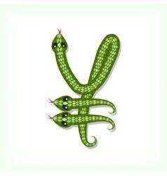 Snake font Yen symbol vector image vector image