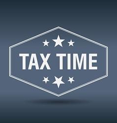 Tax time hexagonal white vintage retro style label vector