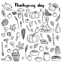 Thanksgiving day doodle set vector