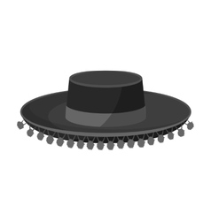 Traditional spanish hat icon in monochrome style vector