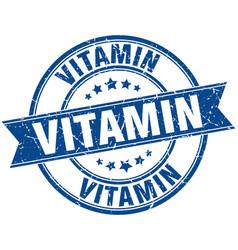 Vitamin round grunge ribbon stamp vector