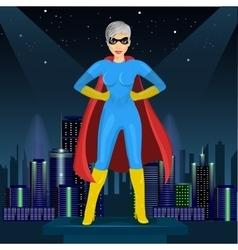 Woman dressed in superhero costume vector