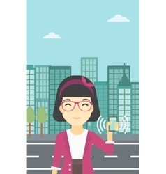 Woman holding ringing telephone vector