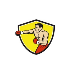 Boxer jabbing punching crest cartoon vector