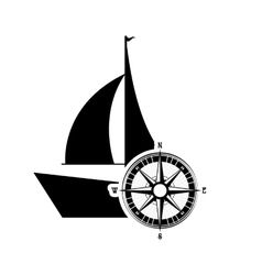 Sail boat and compass icon vector