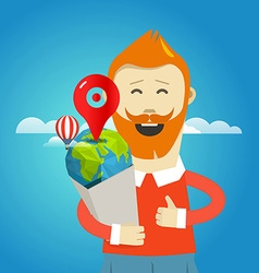 Smiling hipster with the bag Travel concept vector image