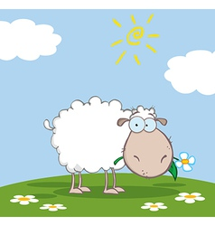 White Sheep Cartoon Character Eating A Flower vector image
