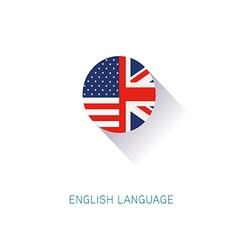 English Language icon USA UK flags vector image