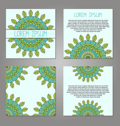 Set of cards with decorative elements vector