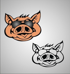 Funny pig face vector