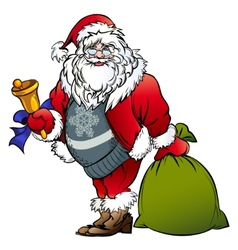 Santa claus with a bell and bag vector