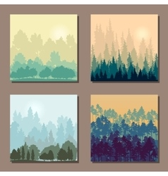 Set of different landscapes with trees an rising vector